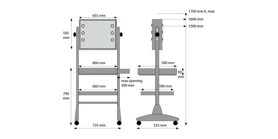 L400x2Full Mirror mobile Station Schminktisch Details