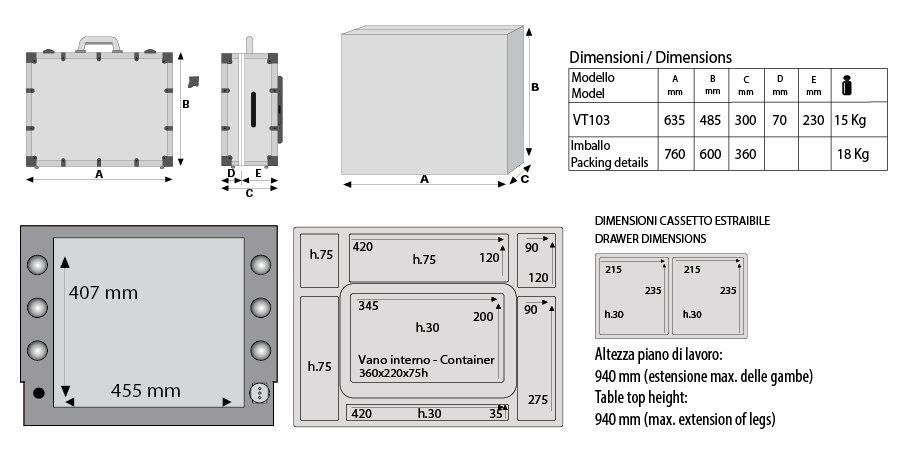 Visagisten Koffer Cantoni vt103 Technik Details