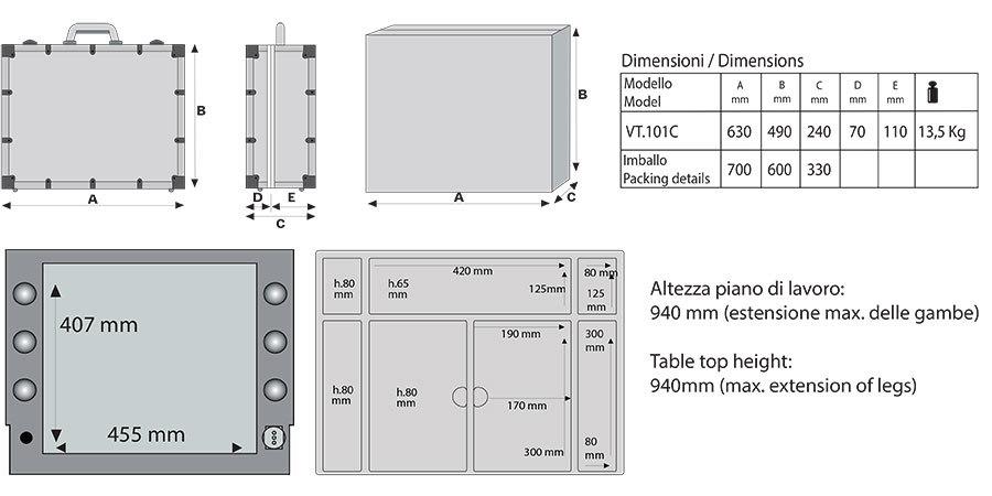 Schminkkoffer LED VT101.C Technik und Aufbau
