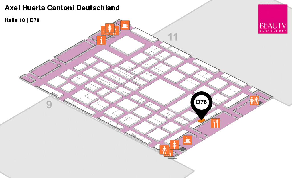 Hallenplan für Cantoni Deutschland auf der Beauty Düsseldorf
