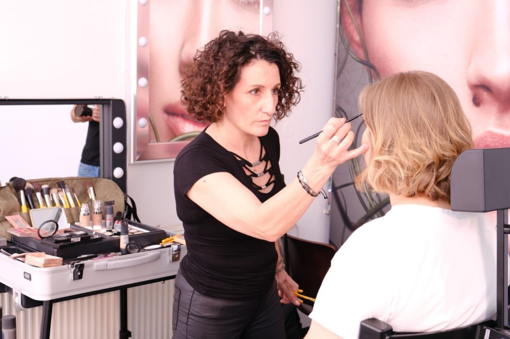 makeup station beim Business Shootig im Cantoni Showroom