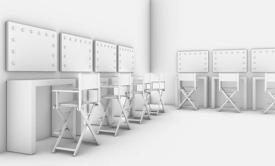 Visualisierung Make-Up Schule, beleuchteteSpiegel an Arbeitsplätzen